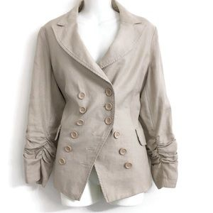 INC Ruched Sleeve Linen Blazer O0300